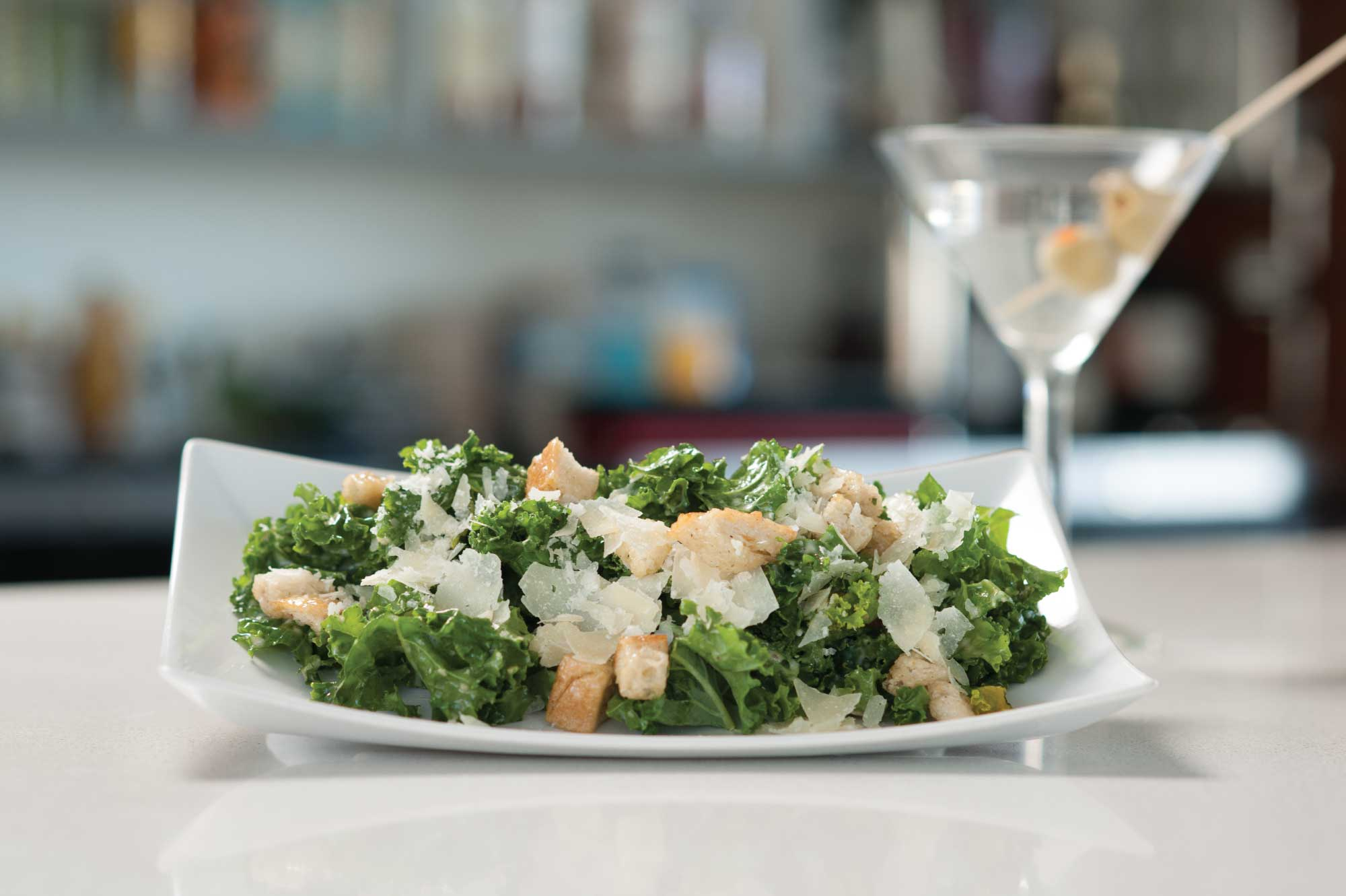 Kale Caesar Salad with Classic Martini
