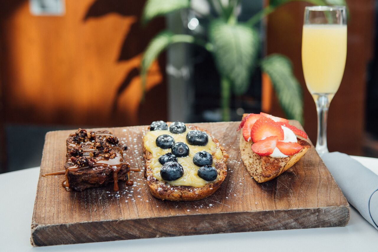 French Toast 3 Ways with a Mimosa